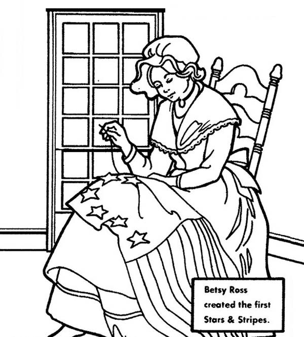 Betsy Ross Created American Flag for Independence Day Coloring ...