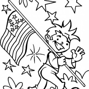 Carrying American Flag On Independence Day Coloring Page