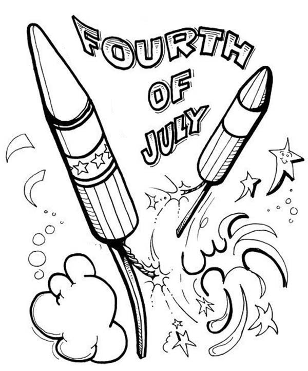 Celebration fireworks on independence day coloring page
