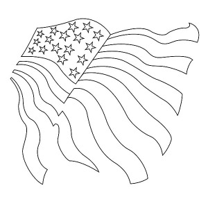 Drawing American Flag for Independence Day Coloring Pages