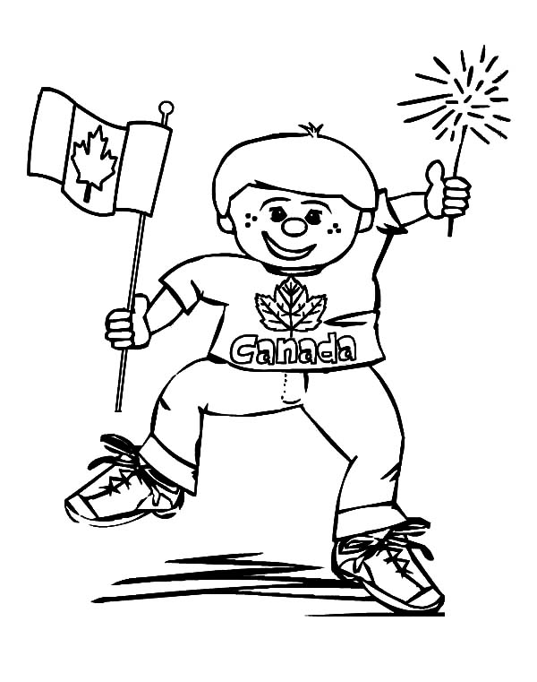 canada day this little boy is really joyful on canada day coloring pages
