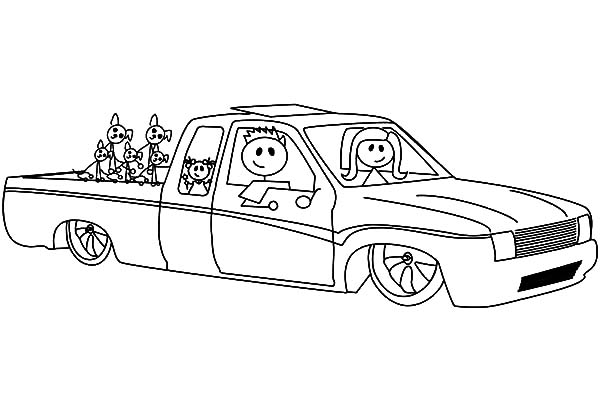 a family in lowrider cars coloring pages - Coloring Pages Cars Trucks