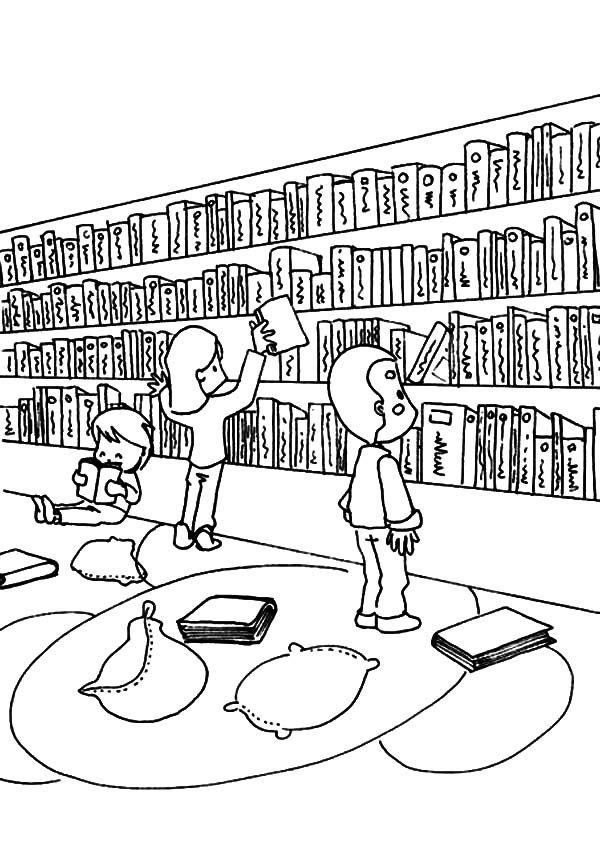 Activity In Library Coloring Pages