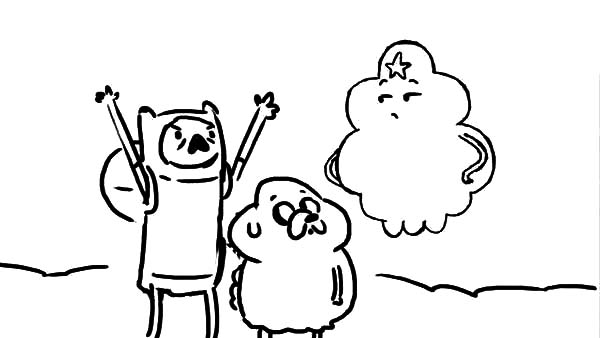 Adventure Time Lumpy Space Princess and Finn Coloring Pages