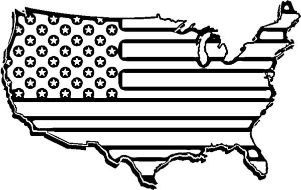American Map Flag Day Coloring Pages