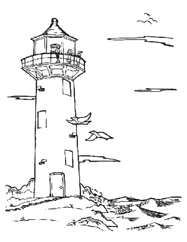 lighthouse an old lighthouse at the beach coloring pages an old lighthouse at the