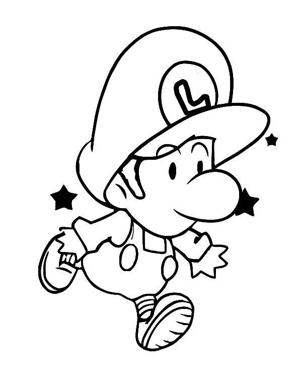 Luigi Baby Learn To Jump Coloring Pages