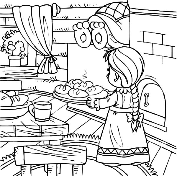 Baking Delicious Bread Kitchen Coloring Pages