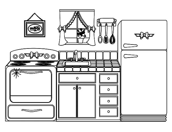 Beautiful Kitchen House Coloring Pages