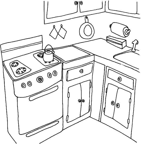 Simple Kitchen Coloring Pages Simple Kitchen Coloring Pages