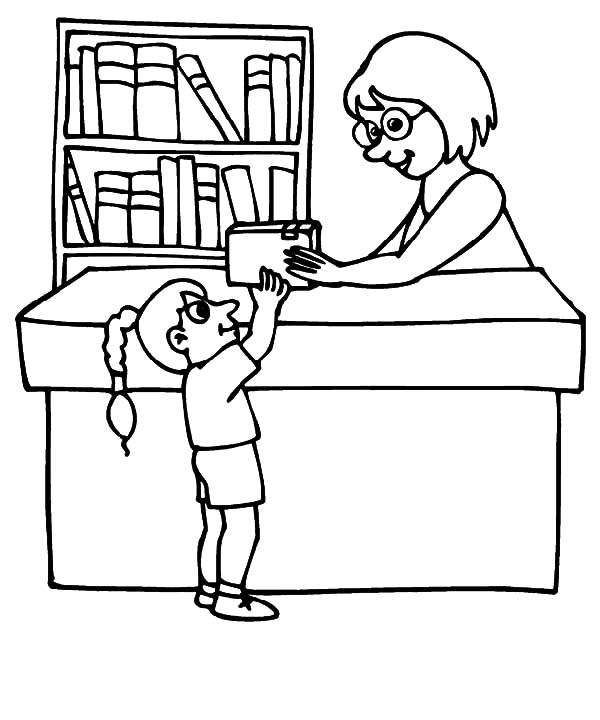 Borrowing Book From Library Coloring Pages