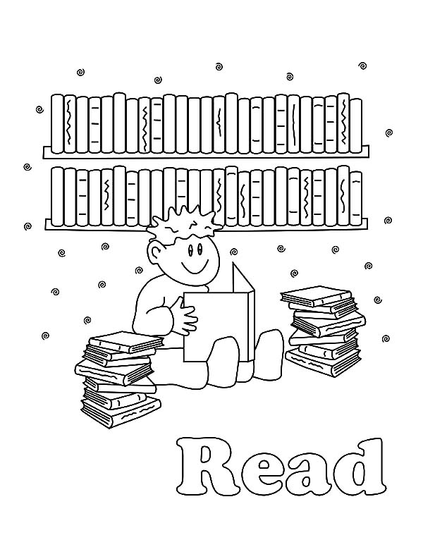 Boy Reading Books In Library Coloring Pages
