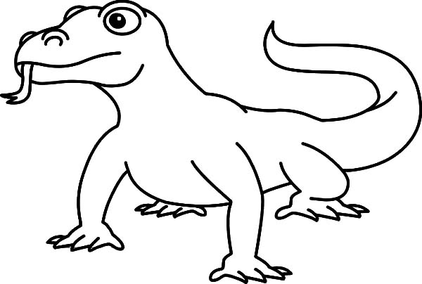 Komodo Dragon Outline Clipart Coloring Page