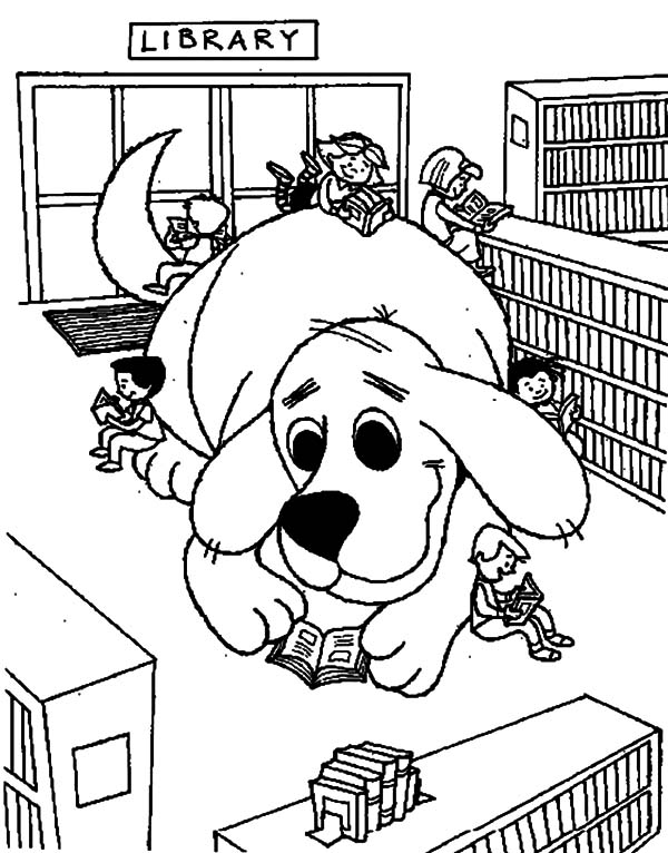 Clifford the Dog in Library Coloring Pages Download Print
