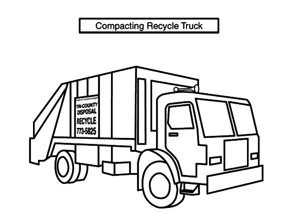 Garbage Truck Coloring Page Compacting Recycle Garbage Truck Coloring Pages  Download & Print .