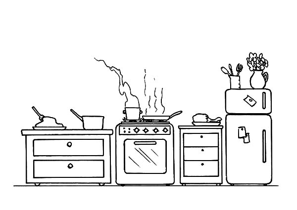 Cooking Acitvity in the Kitchen Coloring Pages Download Print