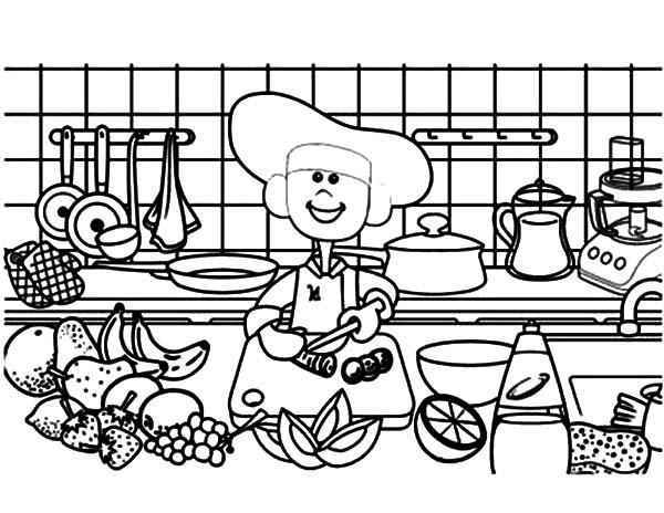Cooking Demonstration in Kitchen Coloring Pages Download Print