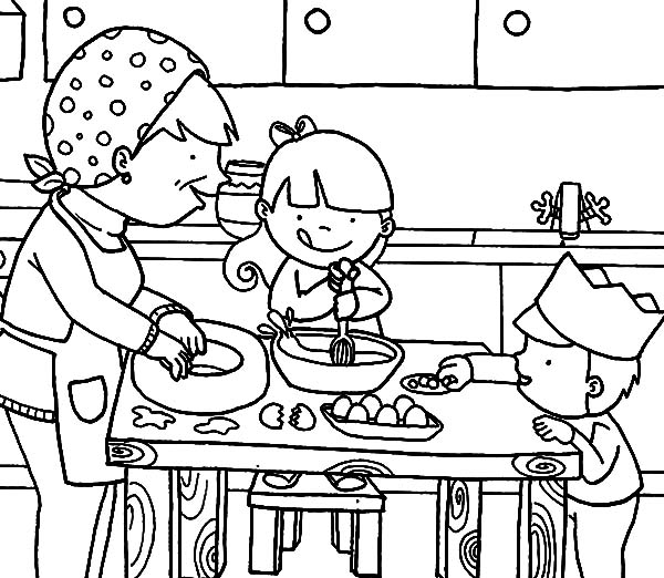 Cooking With Mom In The Kitchen Coloring Pages