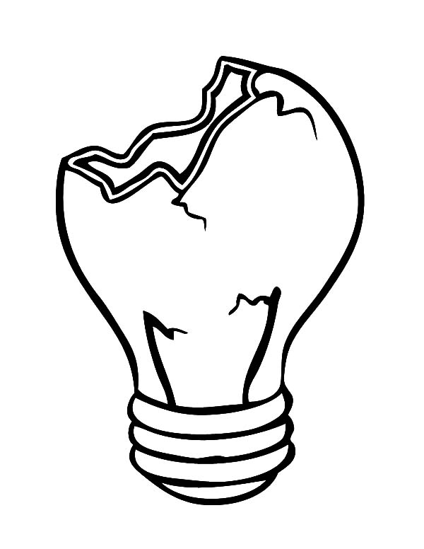 Cracked Light Bulb Coloring Pages