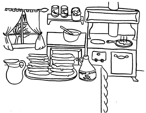 delicious pancakes on kitchen table coloring pages - Chuggington Wilson Coloring Pages