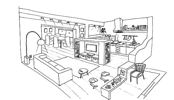Eating Breakfast in the Kitchen Coloring Pages Eating Breakfast