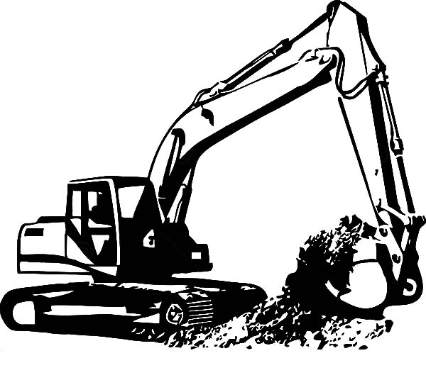 Digger Excavator Coloring Pages
