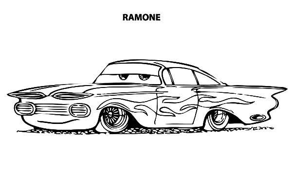 Lowrider Cars Disney Ramone Coloring Pages