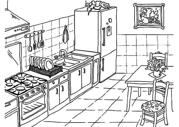 Drawing Kitchen Coloring Pages Download Print Online