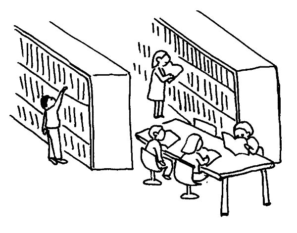 Line Drawing Library : Library fun coloring pages