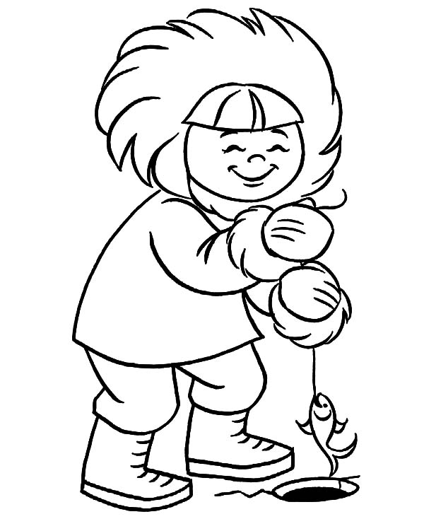 Eskimo Girl Fishing Coloring Pages