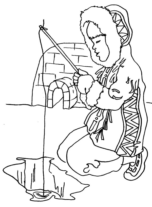 eskimo girl eskimo girl fishing in ice hole coloring pages eskimo girl fishing in