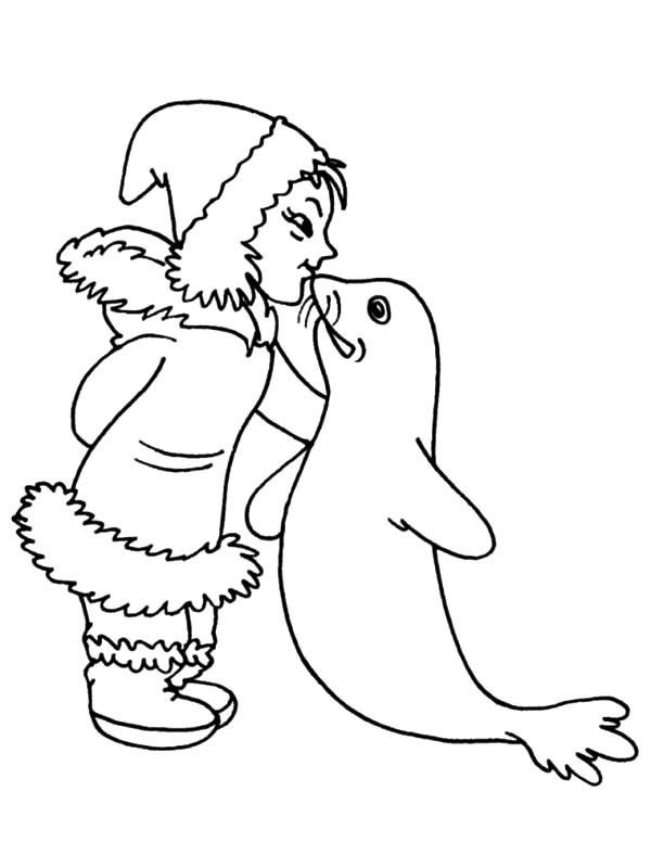 Eskimo Girl Kiss a Coloring Pages