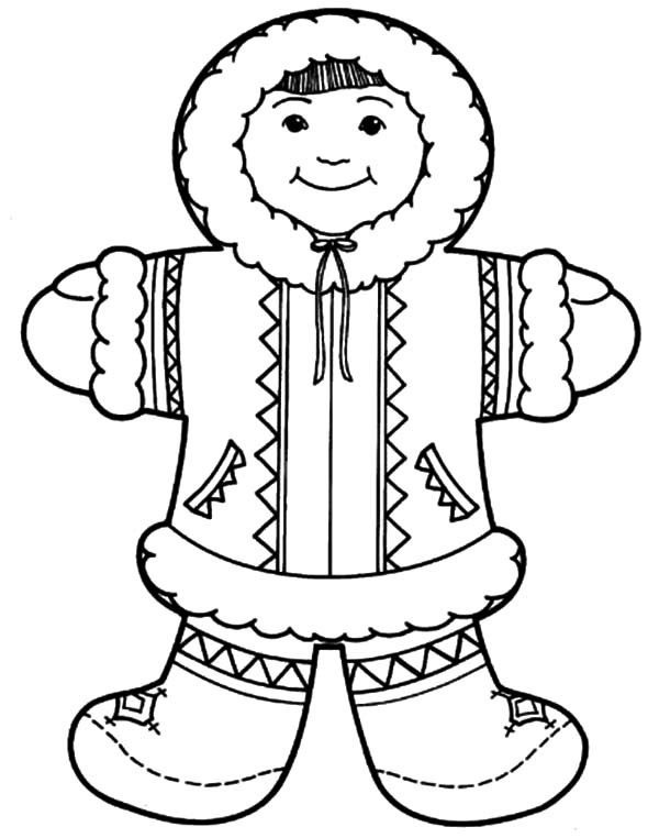 Eskimo Girl Wear Her Traditional Outfit Coloring Pages