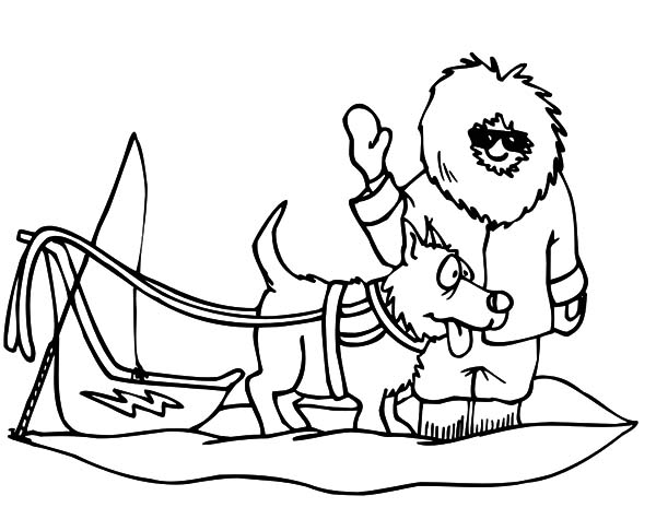 Eskimo Girl And Dog Sled Coloring Pages