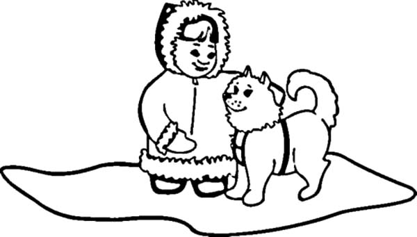 eskimo girl and husky dog coloring pages