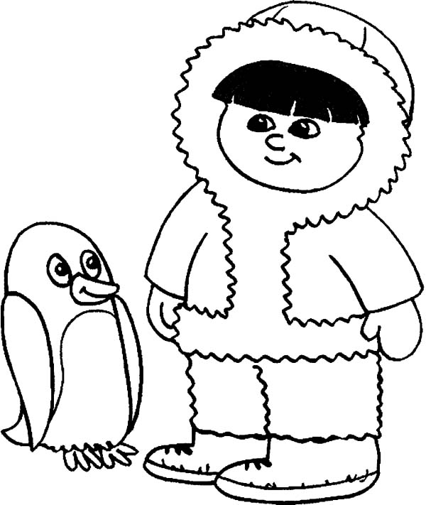 Eskimo Girl and Penguin Coloring Pages