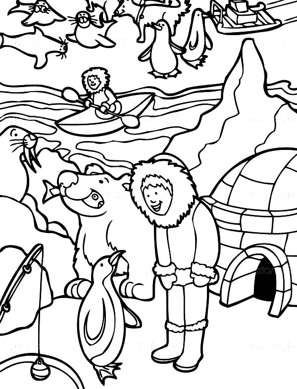 alaska coloring page - a simple drawing of rainbow behind the cloud coloring page