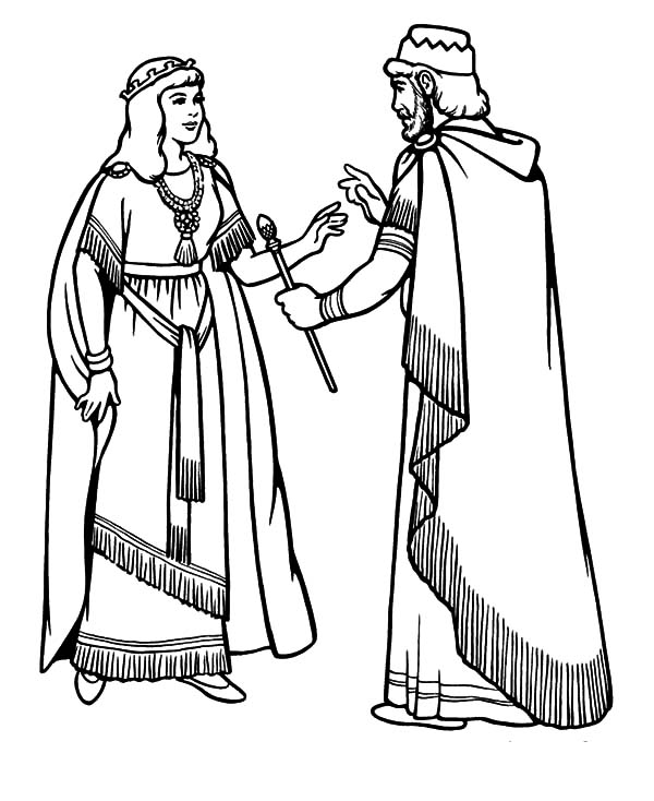 esther become king ahasuerus beloved wife coloring pages