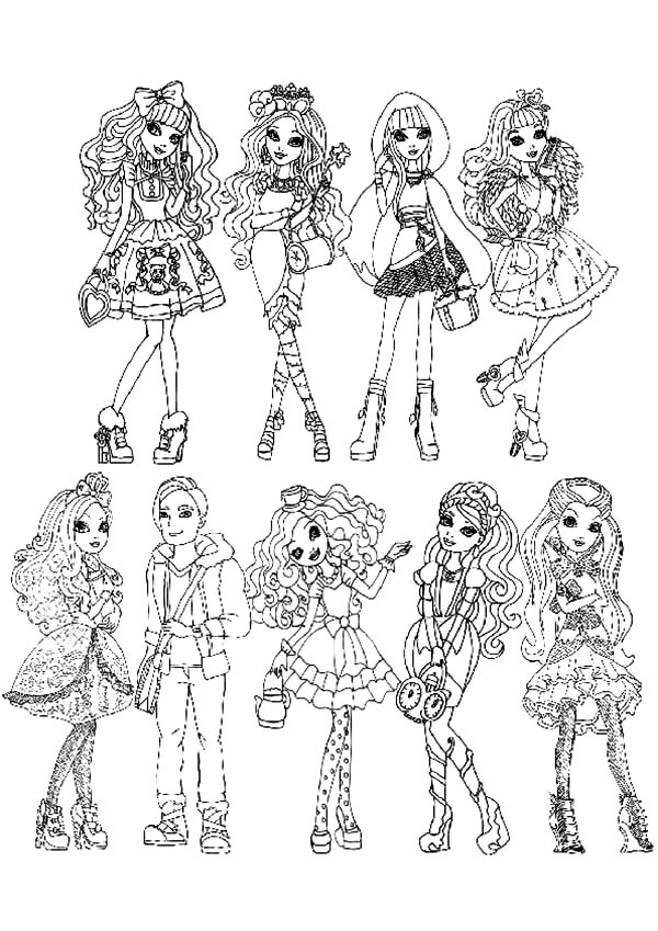 Ever After High All Characters Coloring Pages: Ever After High All ...