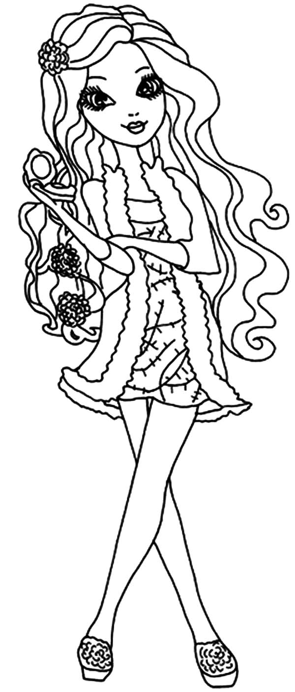 Ever After High Apple White Curly Hair Coloring Pages