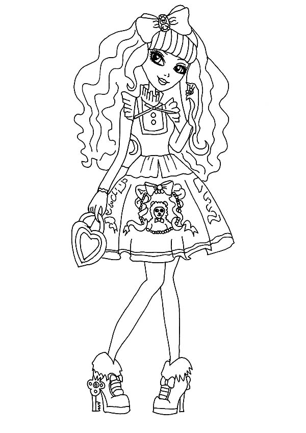 Ever After High Sweet Girl Apple White Coloring Pages
