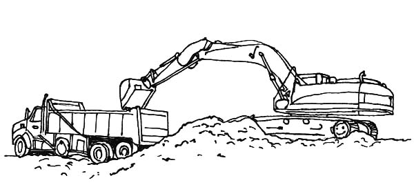 excavator loading work coloring pages - Construction Trucks Coloring Pages