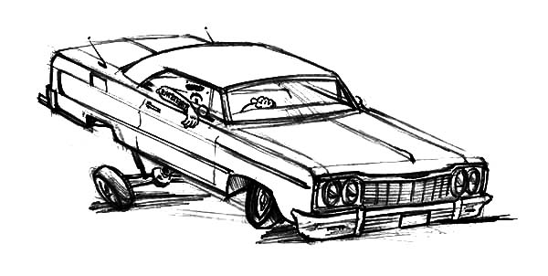 Extreme Changes Hydraulics Lowrider Cars Coloring Pages Download