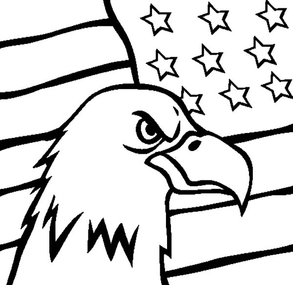 Flag Day and Head of an Eagle Coloring Pages Download Print