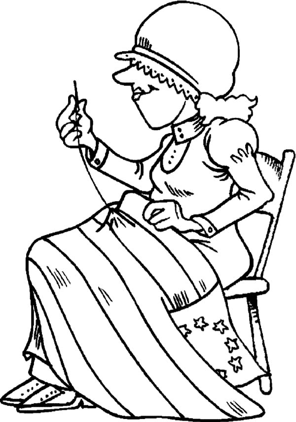 Flag Sewing of Flag Day Coloring Pages