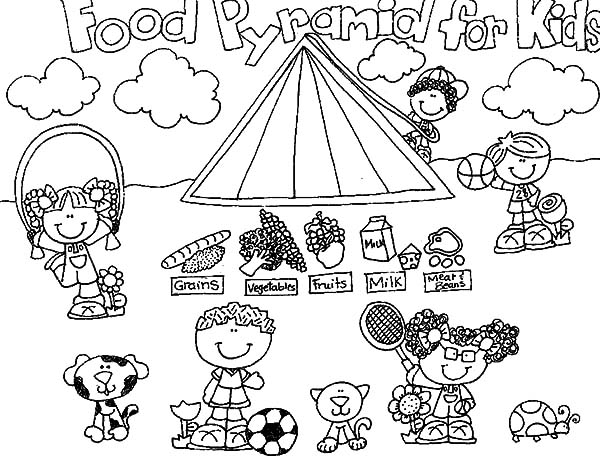 Food Pyramid for Kids Coloring Pages Download Print Online