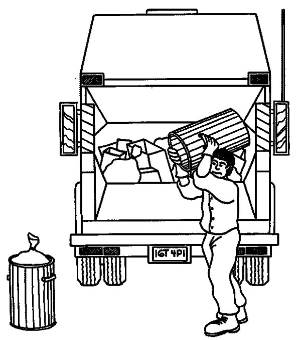Garbage Truck, : Garbage Man Carrying Waste to Truck Coloring Pages