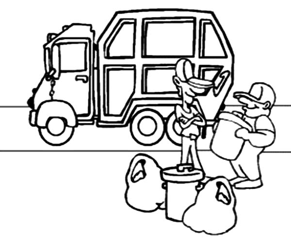 Garbage Truck, : Garbage Man Collecting Garbage to Truck Coloring Pages