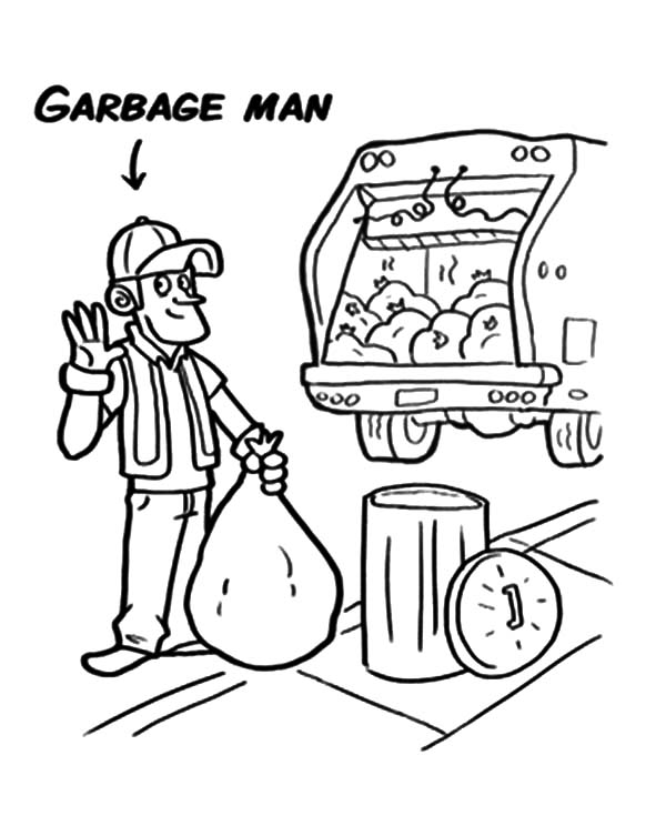 Garbage Truck, : Garbage Man and Garbage Truck Coloring Pages