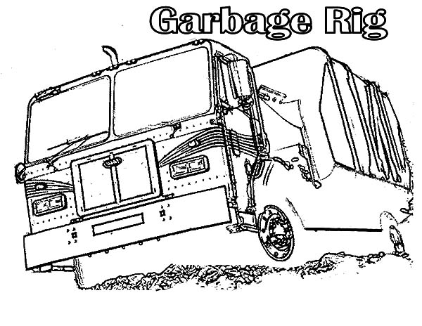 Garbage Truck, : Garbage Rig Truck Coloring Pages